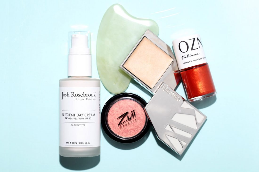 Josh Rosebrook Nutrient Day Cream SPF 30, Kjaer Weis Ravishing, Zuii Organic Melon Blush